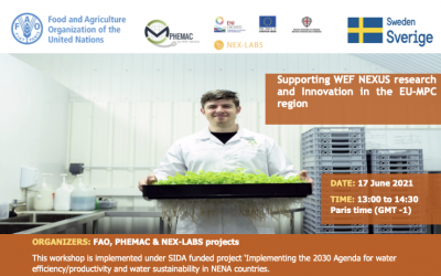 Joint PHEMAC, FAO and NEX-LABS webinar: Supporting Water Energy and Food Research and Innovation in the Mediterranean