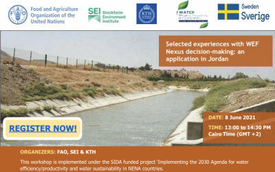 9th NEXUS Webinar: Selected experiences with WEF Nexus decision-making: an application in Jordan-  Tuesday 8th June 2021